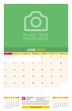 chronology: June 2017. Wall Monthly Calendar for 2017 Year. Vector Design Print Template with Place for Photo. Week Starts Sunday. 3 Months on Page. Planner Template. Stationery Design