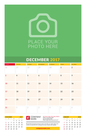 chronology: December 2017. Wall Monthly Calendar for 2017 Year. Vector Design Print Template with Place for Photo. Week Starts Sunday. 3 Months on Page. Planner Template. Stationery Design Illustration