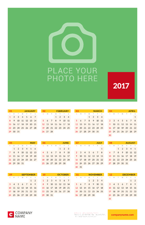 yearly: Wall Yearly Calendar Poster for 2017 Year. Vector Design Print Template with Place for Photo. Week Starts Sunday. 12 Months on Page. Stationery Design