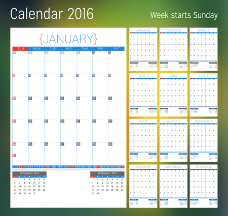 week planner: Calendar for 2016 year. Planner template. Vector design print template. Week starts Sunday. Set of 12 calendar pages. Stationery design