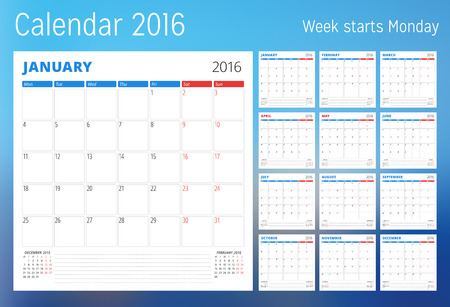 sunday paper: Calendar for 2016 year. Planner template. Vector design print template. Week starts Monday. Set of 12 calendar pages. Stationery design
