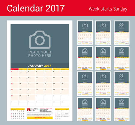 week planner: Wall Monthly Calendar for 2017 Year.