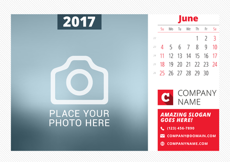 time of the year: Desk calendar template for 2017 year.