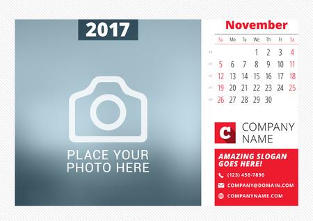 desk calendar: Desk calendar template for 2017 year.