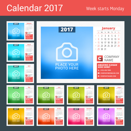months of the year: Desk calendar template for 2017 year. 12 months.