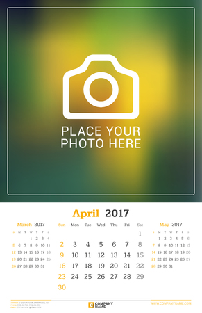 monthly calendar: April 2017. Wall Monthly Calendar for 2017 Year.