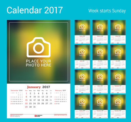 monthly calendar: Wall Monthly Calendar for 2017 Year.