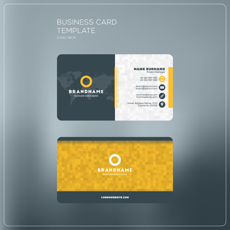 surname: Corporate Business Card Print Template. Personal Visiting Card with. Black and Yellow Colors. Clean Flat Design. Vector Illustration. Business Card Mockup