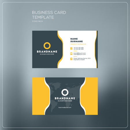 surname: Corporate Business Card Print Template. Personal Visiting Card with company Logo. Black and Yellow Colors. Clean Flat Design. Vector Illustration. Business Card Mockup Illustration