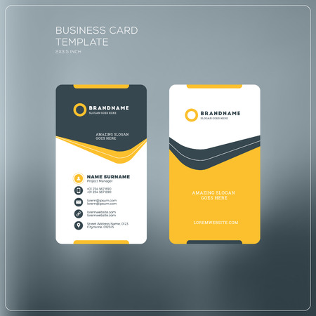 vector vertical business card print template personal business card with company logo black and yellow colors clean flat design vector illustration - What To Put On A Personal Business Card