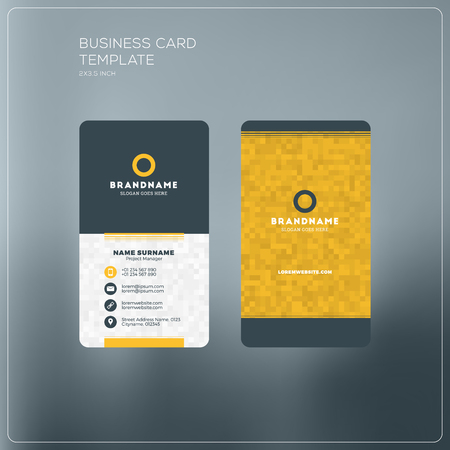surname: Vertical business card print template. Personal business card with company logo. Black and yellow colors. Clean flat design. Vector illustration. Business card mockup