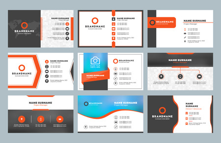 Set Of Modern Business Card Print Templates. Personal Visiting ...