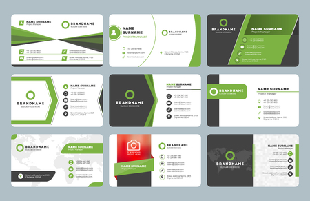Zestaw szablonów wydruku nowoczesnych wizytówek. Osobista wizytówka z logo firmy. Czysta, płaska konstrukcja. Ilustracja wektorowa