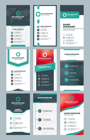 Set of modern vertical business card print templates. Personal visiting card with company logo. Clean flat design. Vector illustration
