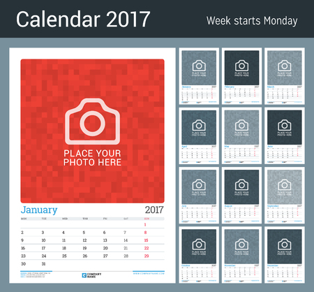 Wall Monthly Calendar Planner For 2017 Year 12 Months Vector