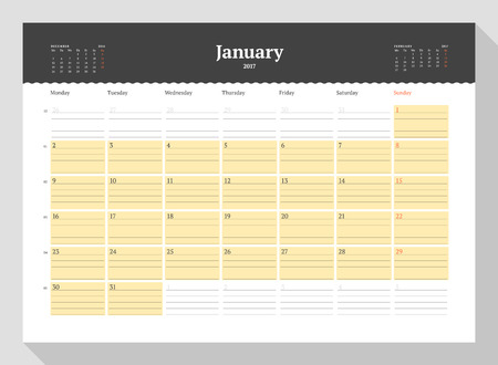 table sizes: Calendar Template for 2017 Year. January. Business Planner 2017 Template. Stationery Design. Week starts Monday. 3 Months on the Page. Illustration Illustration