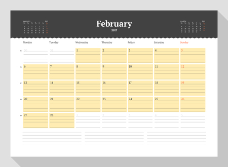 table sizes: Calendar Template for 2017 Year. February. Business Planner 2017 Template. Stationery Design. Week starts Monday. 3 Months on the Page. Illustration