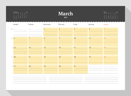 table sizes: Calendar Template for 2017 Year. March. Business Planner 2017 Template. Stationery Design. Week starts Monday. 3 Months on the Page. Illustration