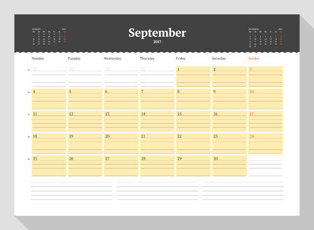 table sizes: Calendar Template for 2017 Year. September. Business Planner 2017 Template. Stationery Design. Week starts Monday. 3 Months on the Page. Illustration