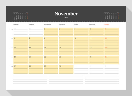 table sizes: Calendar Template for 2017 Year. November. Business Planner 2017 Template. Stationery Design. Week starts Monday. 3 Months on the Page. Illustration