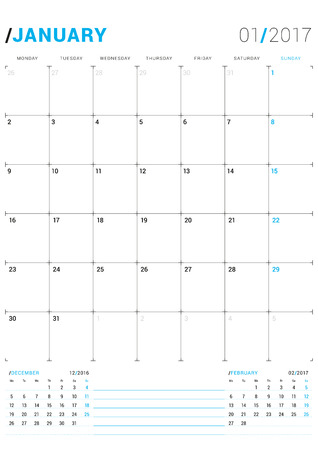 january 2017 vector print template monthly calendar planner