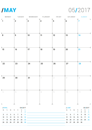 next year: May 2017. Vector Print Template. Monthly Calendar Planner for 2017 Year. Week Starts Monday. 3 Months on the Page. Stationery Design Illustration