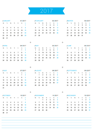 table sizes: Vector Print Template. Calendar for 2017 Year. Week Starts Monday. Stationery Design