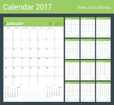 table sizes: Vector Print Template. Monthly Calendar Planner for 2017 Year. Week Starts Monday. 3 Months on the Page. Stationery Design