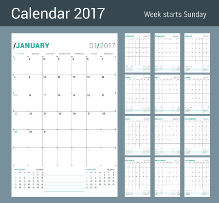 table sizes: Vector Print Template. Monthly Calendar Planner for 2017 Year. Week Starts Sunday. 3 Months on the Page. Stationery Design Illustration