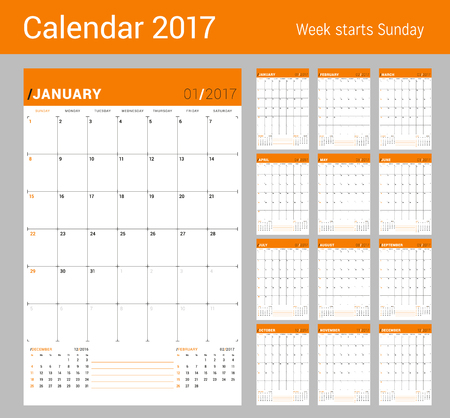 chronology: Vector Print Template. Monthly Calendar Planner for 2017 Year. Week Starts Sunday. 3 Months on the Page. Stationery Design Illustration