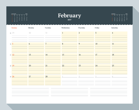 table sizes: Calendar Template for 2017 Year. February. Business Planner Template. Stationery Design. Week starts Sunday. 3 Months on the Page. Vector Illustration
