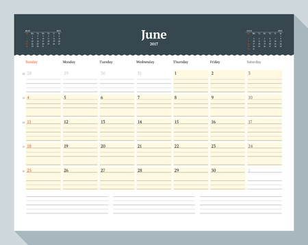 table sizes: Calendar Template for 2017 Year. June. Business Planner Template. Stationery Design. Week starts Sunday. 3 Months on the Page. Vector Illustration