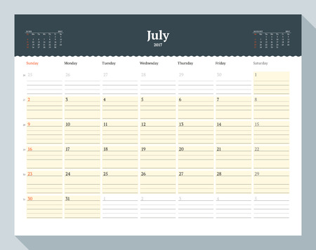 table sizes: Calendar Template for 2017 Year. July. Business Planner Template. Stationery Design. Week starts Sunday. 3 Months on the Page. Vector Illustration