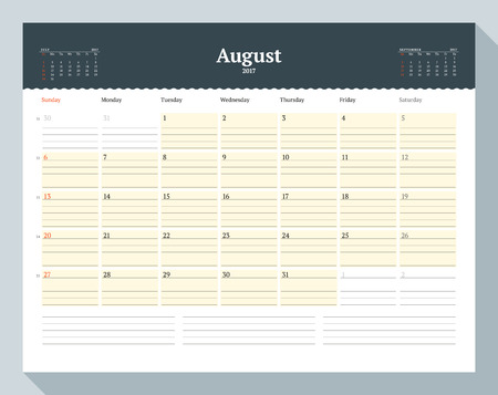 table sizes: Calendar Template for 2017 Year. August. Business Planner Template. Stationery Design. Week starts Sunday. 3 Months on the Page. Vector Illustration