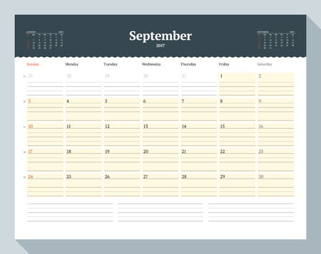 cronologia: Calendar Template for 2017 Year. September. Business Planner Template. Stationery Design. Week starts Sunday. 3 Months on the Page. Vector Illustration