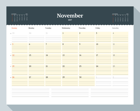 table sizes: Calendar Template for 2017 Year. November. Business Planner Template. Stationery Design. Week starts Sunday. 3 Months on the Page. Vector Illustration Illustration