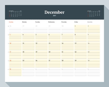 cronologia: Calendar Template for 2017 Year. December. Business Planner Template. Stationery Design. Week starts Sunday. 3 Months on the Page. Vector Illustration