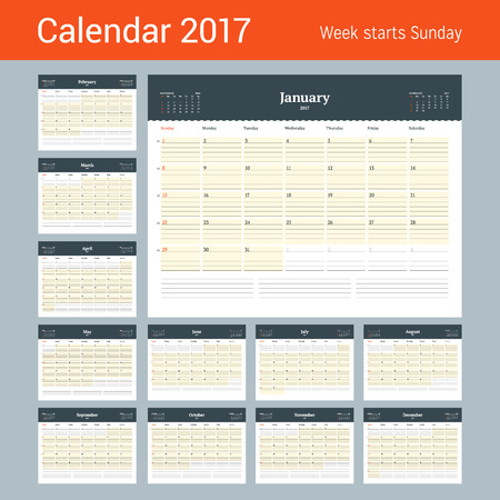 meses del a�o: Calendar Template for 2017 Year. Business Planner Template. Stationery Design. Week starts Sunday. 3 Months on the Page. Vector Illustration Vectores