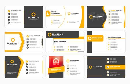 Serie di moderni modelli di stampa di biglietti da visita. biglietto da visita personale con società. Illustrazione vettoriale. disegno della cancelleria