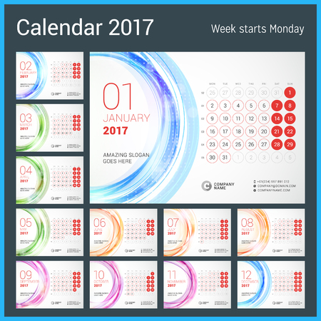 desk calendar: Desk Calendar for 2017 Year. Week Starts Monday. Vector Design Print Template with Abstract Circle Background