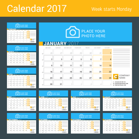 print template: Desk Calendar for 2017 Year. Set of 12 Months. Vector Design Print Template with Place for Photo, Logo and Contact Information. Week Starts Monday. Calendar Grid with Week Numbers and Place for Notes Illustration