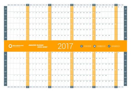 cronologia: Plantilla Calendario Planificador anual para 2017 Año. Diseño del vector plantilla de impresión. La semana empieza el lunes. Diseño de papelería