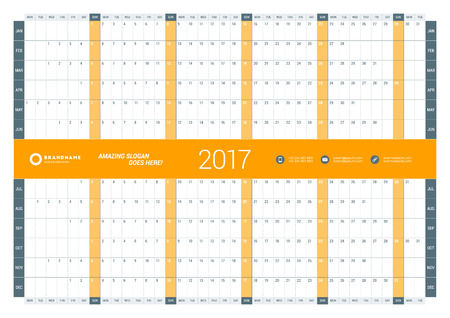 cronologia: Yearly Calendar Planner Template for 2017 Year. Vector Design Print Template. Week Starts Monday. Stationery Design