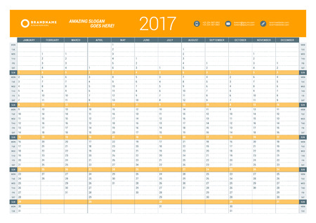 yearly: Yearly Calendar Planner Template for 2017 Year. Vector Design Print Template. Week Starts Monday. Stationery Design