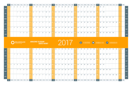 chronology: Yearly Calendar Planner Template for 2017 Year. Vector Design Print Template. Week Starts Sunday. Stationery Design