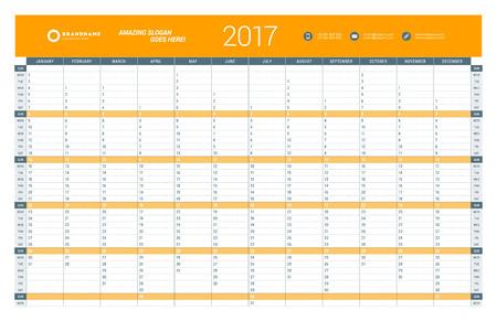 cronologia: Plantilla Calendario Planificador anual para 2017 Año. Diseño del vector plantilla de impresión. La semana comienza el domingo. Diseño de papelería Vectores