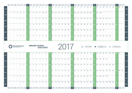 chronology: Yearly Calendar Planner Template for 2017 Year. Vector Design Print Template. Week Starts Monday. Stationery Design