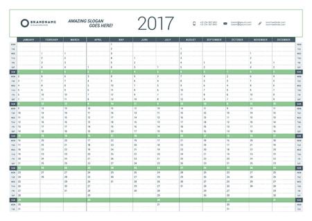 Plantilla Calendario Planificador anual para 2017 Año. Diseño del vector plantilla de impresión. La semana empieza el lunes. Diseño de papelería
