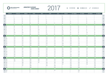 yearly planning calendar template 2017