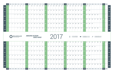 cronologia: Yearly Calendar Planner Template for 2017 Year. Vector Design Print Template. Week Starts Sunday. Stationery Design